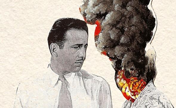 Face a face. Aperçu d'un collage, d'Humphrey Bogart avec un volcan. Issue d'une série, fruit de la collaboration entre David Rybak et Clovis Petit.